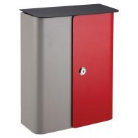 QualArc Vista Wall Mounted Gray / Red Front Door with Black Metal Lid Locking Mailbox - Model WF-1515-RG