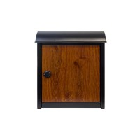 QualArc Leece Wall Mounted Mailbox in Black with Wood Finish Door and Combo Lock - Model WF-W1701BKWD